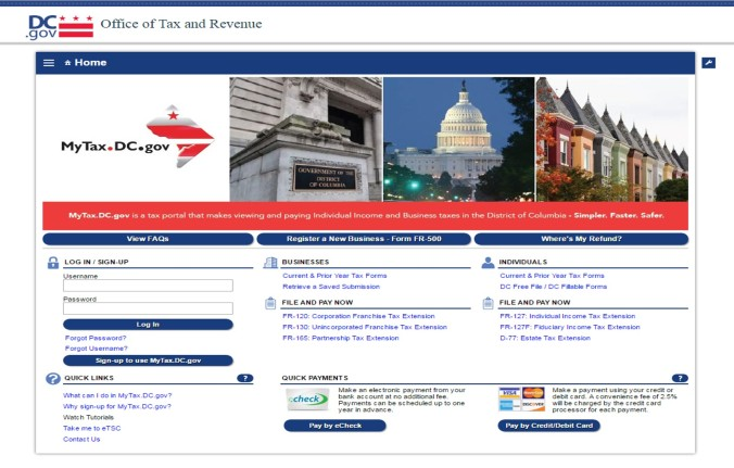 mytax-dc-gov-home-page