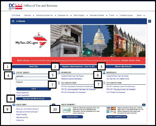 mytax-dc-gov-homepage-view