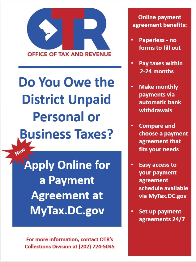 Reminder Do You Owe Dc Taxes Apply For An Online Payment Agreement