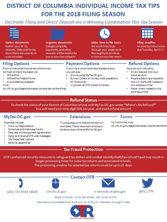 Individual Income Tax Tips for the 2018 Filing Season | MyTax.DC.gov